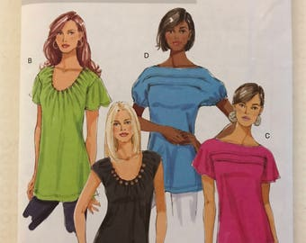 Butterick B5327 - Bateau or Scoop Neck Top or Tunic with Dropped SHoulder forming Gathered, Flutter, or Cap Sleeve - Size XS S M