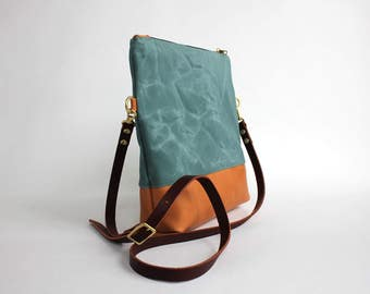 Waxed Canvas and Leather Convertible Crossbody Bag/Clutch - cerulean - LAST ONE