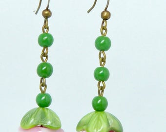 Vintage Art Deco 1930s green & pink moulded glass rose flower and leaf  puzzle bead earrings