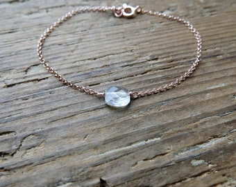 Aquamarine bracelet. Minimalist aquamarine bracelet on gold rose sterling silver chain. Mother's day gift. March birthstone