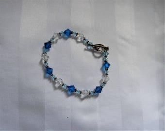 Beautiful Swavorski Crystal Bracelet in Tones of Blues & Sterling Silver