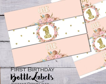 Blush pink and gold water bottle labels - First birthday Party - Printable  bottle labels - Floral water labels - Birthday decorations