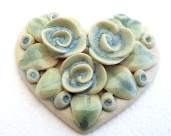 Focal Bead - Blue and Green Heart Pendant - Floral Pendant - Unique Handmade Ceramic Focal Bead - OOAK Focal Bead - Clay Bead - garden bead