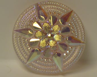 Pink Handmade Glass Czech Button 35mm Iridescent Rainbow Blue Gold Accents