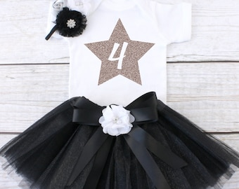 Four Year Old Birthday Outfit. Birthday Outfit 4. Fourth Birthday Outfit. Girls Birthday Tutu Outfit. 4th Birthday Outfit. T03 4BD (BLACK)