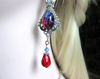 Dragons Breath Opal Earrings, Glass Opal, Dangle Earrings, Red and Blue Earrings, Made to Order