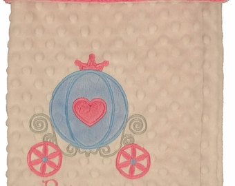 Personalized Baby Blanket- Princess Carriage Minky Blanket- Pink & Blue Pincess Carriage Minky blanket