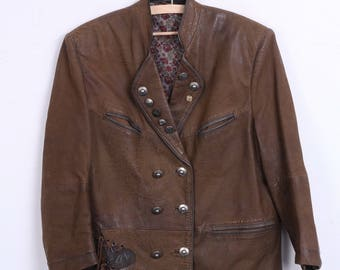 Vintage Womens 36 Jacket Leather Blazer Double Breasted Brown