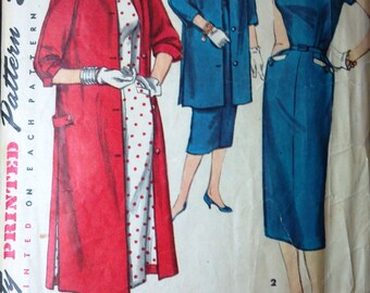 Simplicity 1465 Pattern for Misses' Dress and Coat, Size 18.5, Circa 1940s, Vintage Pattern, Classic 1940s Fashion Pattern, Home Sewing