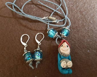"""Gnome """"Cecil"""" Necklace and Earrings"""