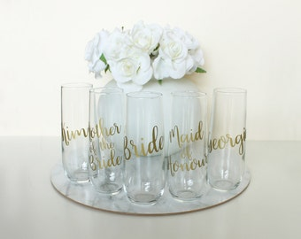 SIX PERSONALISED Bridesmaids Gifts, bridal party favours, Stemless Champagne Wine Glasses