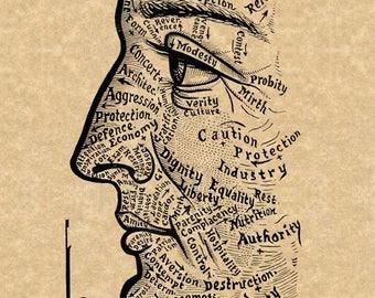 "Vintage Phrenology Art Print ""Chart of the Face"" Sivartha 1912 Antique Book Illustration Steampunk Art Anatomy Medical"