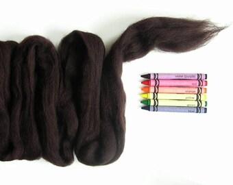 CORRIEDALE WOOL ROVING / Dark Chocolate Brown 1 ounce / wool for dreadlocks, needle felting, wet felting, wool animal fur, animal hair,