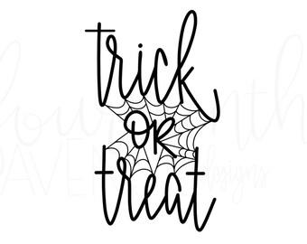 Trick or Treat SVG / Trick or Treat DXF / Halloween SVG / Trick or Treat Cut File / Halloween Cut File / Hand Lettered svg