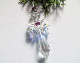 Swarovski Crystal Angel, Christmas Angel, Suncatcher, Christmas Ornament, Stocking Stuffer, Nursery Birthstone Angel, Rear view mirror