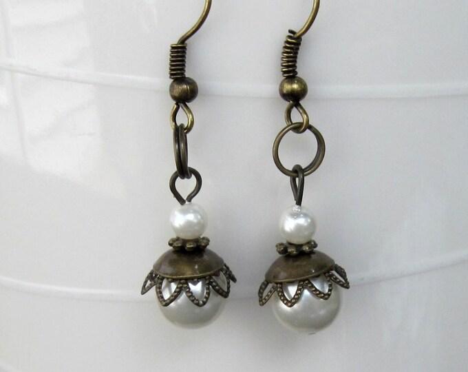 Glass Pearl Earrings, Dangle Earrings, Hook Earrings, Bell Art Designs 82