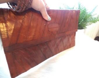 Vintage ELL Skin Clutch ~ Oxblood Brown ~ Large Envelope Clutch