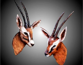 Gazelle Set of Two Wall Sculptures
