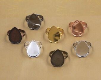 20 Brass Antique Bronze/ Silver/ Gold/ Rose Gold/ White Gold/ Gun-Metal Plated Ring W/ Jagged Frame 13x18mm/ 18x25mm Teardrop Bezel Setting