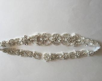 Bridal belt, bridal sash, wedding belt, rhinestone belt