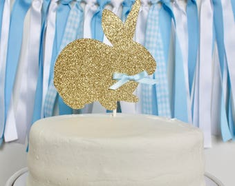 Bunny Birthday Cake Topper, Bunny Cake Topper, Some Bunny is One Birthday Decorations, Blue and Gold Bunny Party
