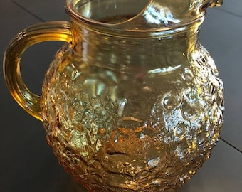 Vintage Anchor Hocking Amber Glass Pitcher Lido Milano Pattern