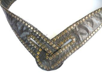 Adjustable Snaps BELT- V BELT-Rugged Leather Hip Belt-Boho Festival Belt-Best Selling Belts-Black Leather Stud Belt-Size Small