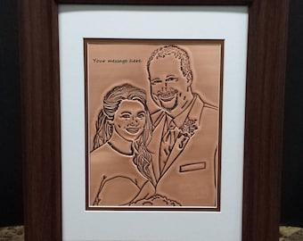 Portrait engraved on copper, Custom copper anniversary gift, custom portrait of couple engraved on copper, 7th anniversary gift
