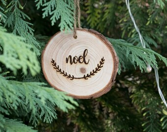 Noel Hanging Christmas Tree Decoration - Engraved Wooden Log Slice Christmas Decoration