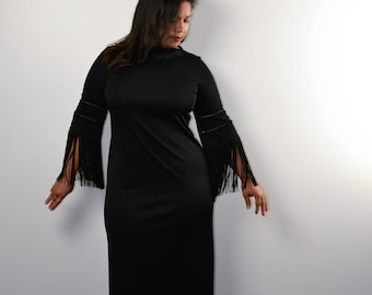 Alison Ayers 1960s-70s Inky Black Formal Long Sheath Dress Beautiful Fringe Sleeves