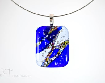 Abstract blue Murano pendant necklace minimalist, Unique jewelry made in Italy, Unique gift for women - vulcan