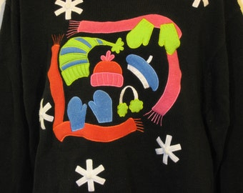Black sweater with winter accessories. tacky ugly christmas xmas sweater size large