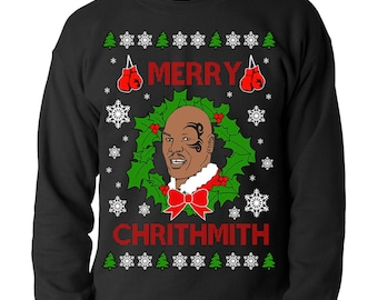 Funny Mike Tyson Merry Crithmith Ugly Christmas Jumper Sweater Sweatshirt Design Gift For Him