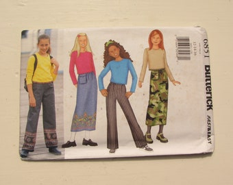 Butterick 6851 - Girl's Top, Skirt, Pants - Size 12-14-16 - Fast & Easy for Woven and Knit Fabrics - Uncut and Factory Folded - MSRP 9.95