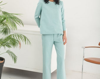 Green classic tailored pants - Organic cotton straight-leg pants