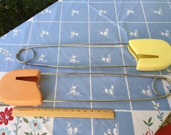 Giant Diaper Pins, Pair, Vintage Store Display, Pink, Yellow, Nursery Decor