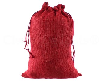 """5 Pack - 10"""" x 14"""" Red Burlap Bags - Natural Burlap Bags with Jute Drawstring for Christmas and Holiday Gifts - Rustic Decor Favor Pouch"""