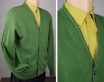 Men's Vintage 60s Deep Green Lambswool Cardigan L XL