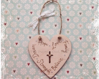 Birch Plywood Hanging Heart with words Family, Believe, Love, Hope, Dream, Strength.