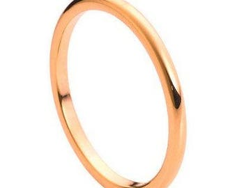 High Polished Rose Gold Tone IP Plated Thin Band – 2mm