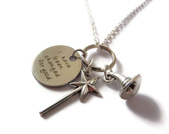 """WICKED the musical Inspired 20mm tag """" I have been changed for good""""  witches necklace,  Oz fan gift, wicked jewellery, sandykissesuk"""