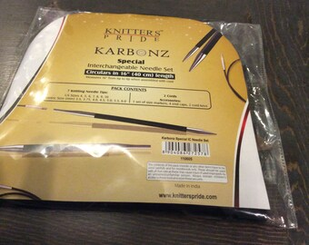 "Knitter's Pride Karbonz Interchangeable Knitting Needle Set. Circulars in 16"""