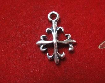 925 sterling silver fleur de lis cross,  cross, silver fleur de lis cross
