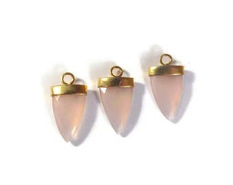 Rose Quartz Charm, Pink Faceted Gemstone Charm, Gemstone Point, Gold Plated Bezel, 24mm x 13mm (C-Rq2c)