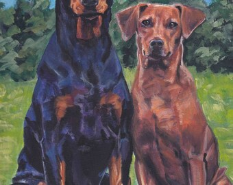 "GERMAN PINSCHER dog portrait art canvas print of LA Shepard painting 12x16"""
