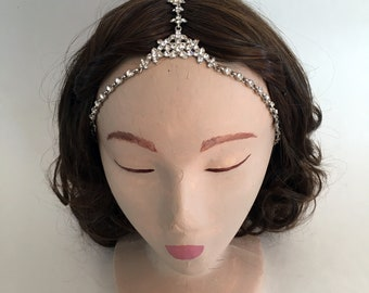 COACHELLA Silver Simple Floral Pattern Crystal Gypsy Crown