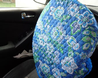 Steering Wheel Cover, Blue Flowered Quilted Gift for Mom, Present for Grad, Steering Wheel Protector, Crochet Edging, Removable Wheel Cover