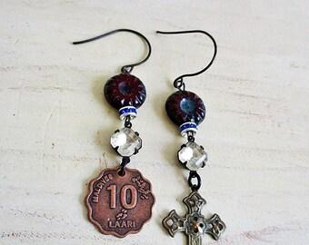 Asymmetrical Earrings, Mismatched Earrings, Coin Earring, Cross Earring, Statement Earrings, Assemblage Earrings, Handmade