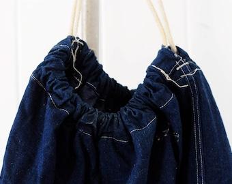 Vintage Navy Draw String Denim Duffel Bag/ vintage denim travel bag