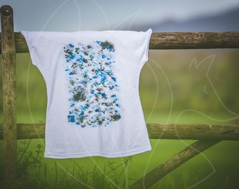 Woman T-shirt hand painted cotton